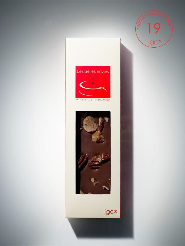 Tablette de chocolat au lait et pécans de macadamia, produit des belles envies, IG bas.