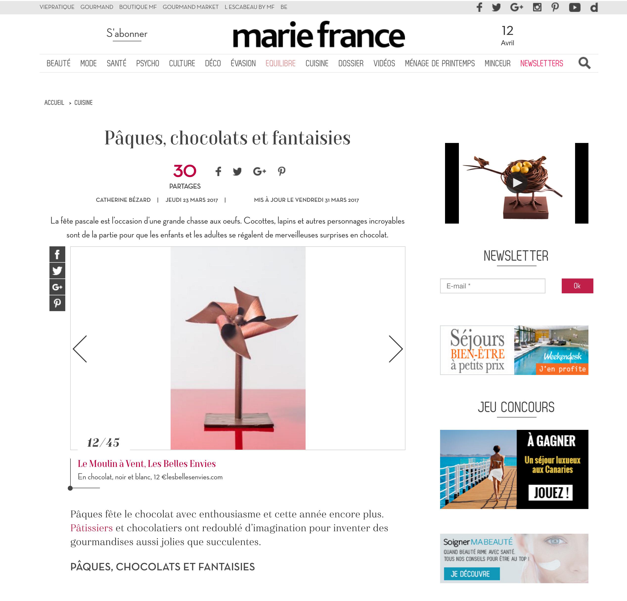 Les Belles Envies article de presse dans Marie France pour Pâques